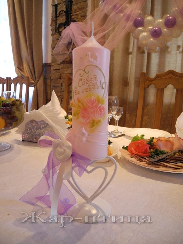 Свеча свадебная малая, 17 см, время горения 10 часов - 765 руб.   Металлический подсвечник