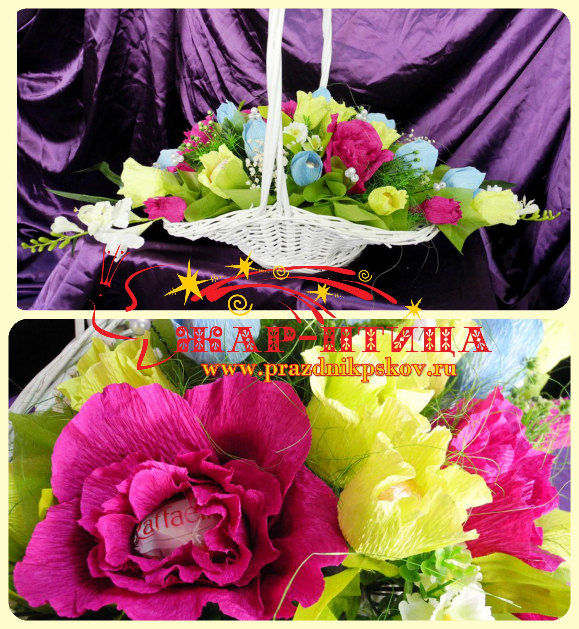 Большая корзина с цветами из конфет - от 1500 руб.