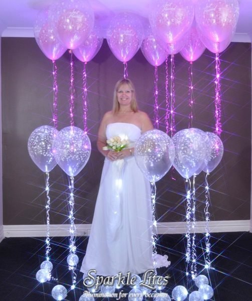 Прозрачный шар с рисунком с подсветкой, с гелием - от 120 руб./шт, светящаяся лента - от 200 руб./шт