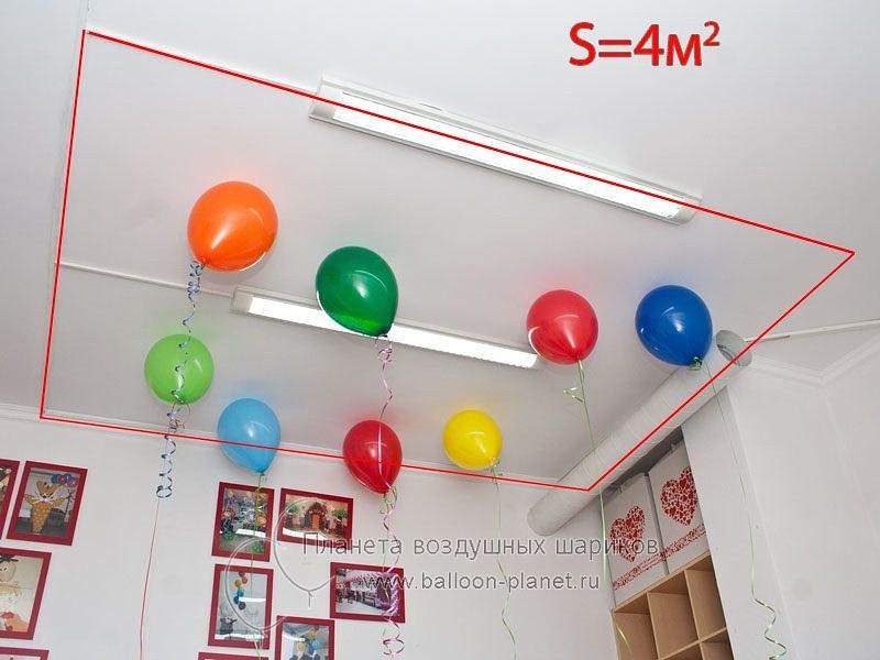 Сколько нужно шаров? Так выглядят 2 шара на 1 кв.м