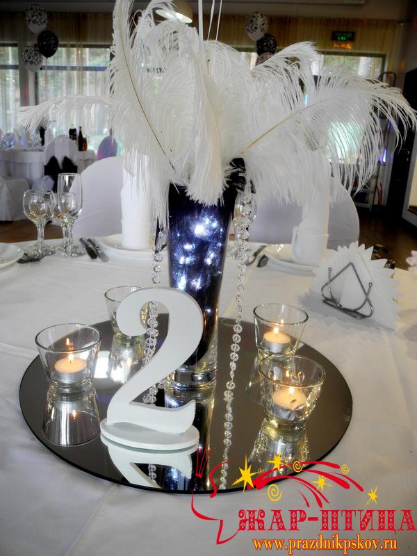 Композиция с перьями и свечами, номера столов