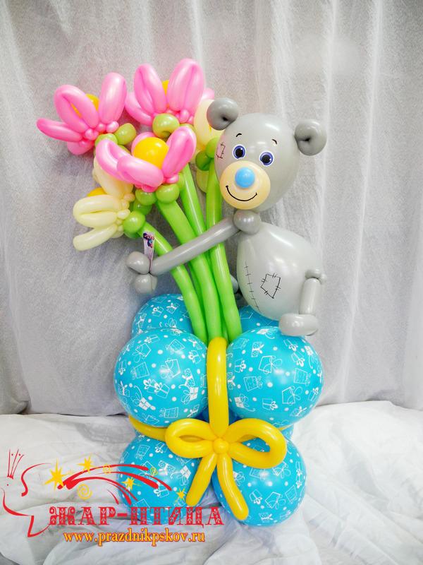 Мишка Тедди с цветами (высота ок. 1 м) - 1000 руб.