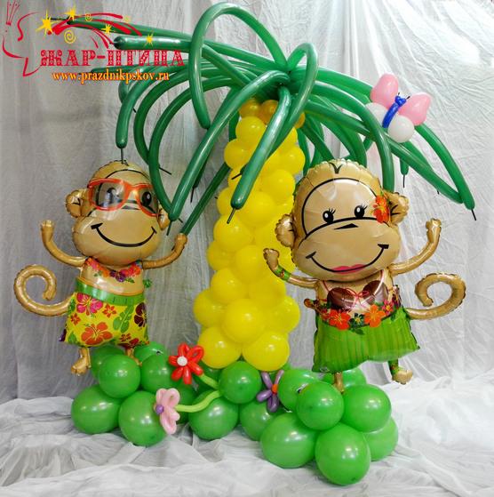 Пальма с гавайскими обезьянками - 2000 руб.